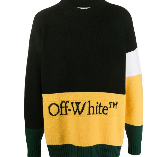 20FW 오프화이트 OMHE048 컬러블럭 스웨터